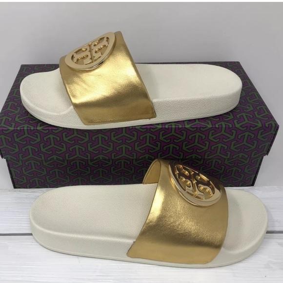 a41346661575 NEW Tory Burch Lina Metallic Slide Sandals - Gold
